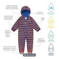 thumb-Lined, durable rain suit ECOSPLASH, in red with blue stripes-2
