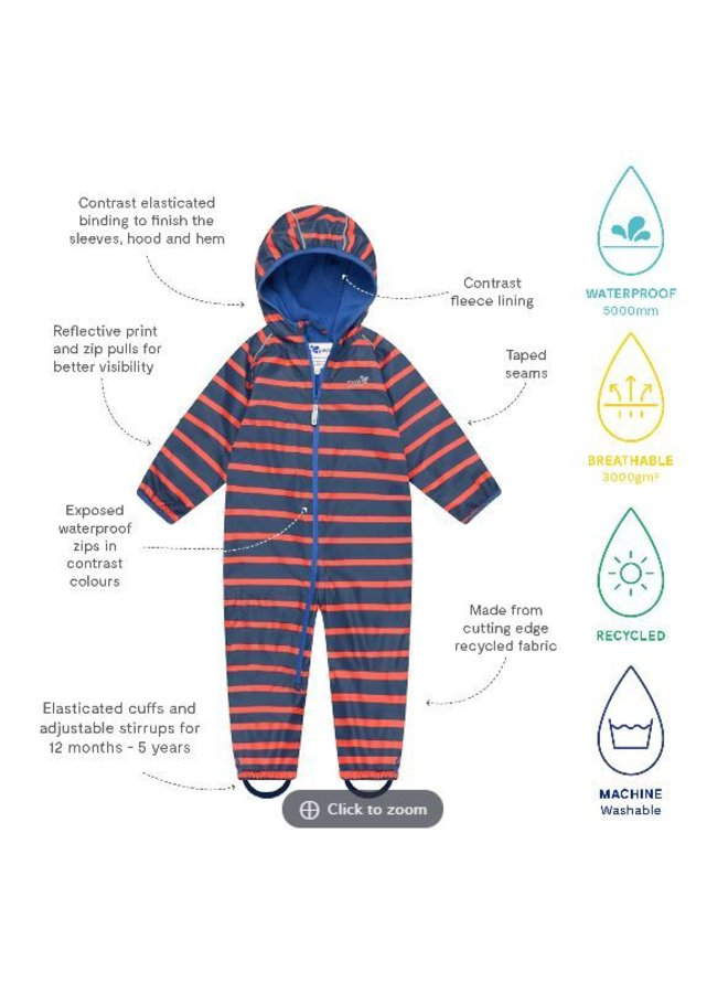 Lined, durable rain suit ECOSPLASH, in red with blue stripes