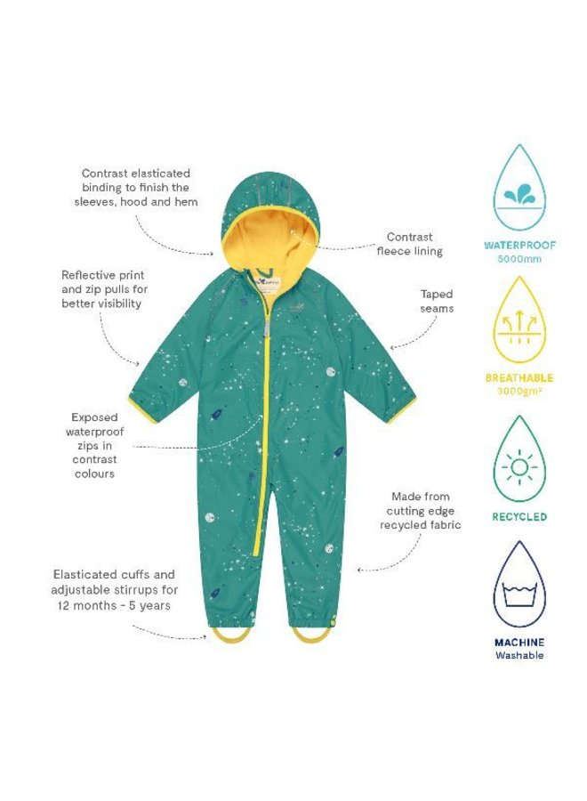 Lined, durable rain suit ECOSPLASH, Universe   0-6 years