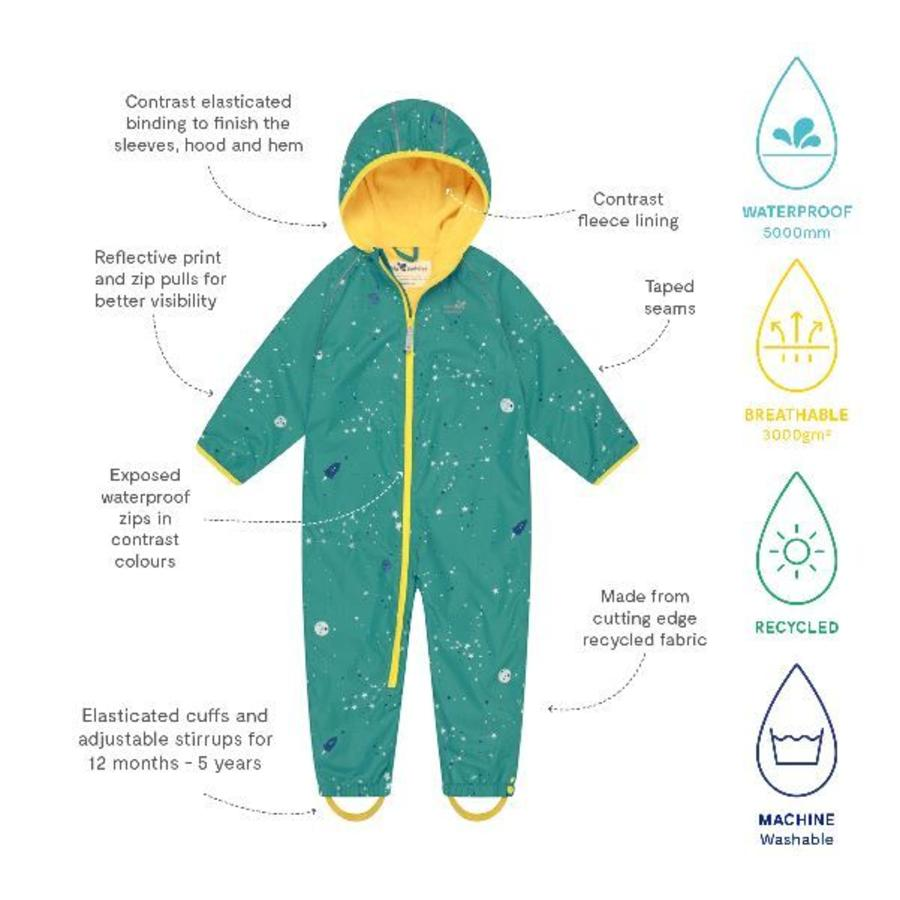 Lined, durable rain suit ECOSPLASH, Universe | 0-6 years-4