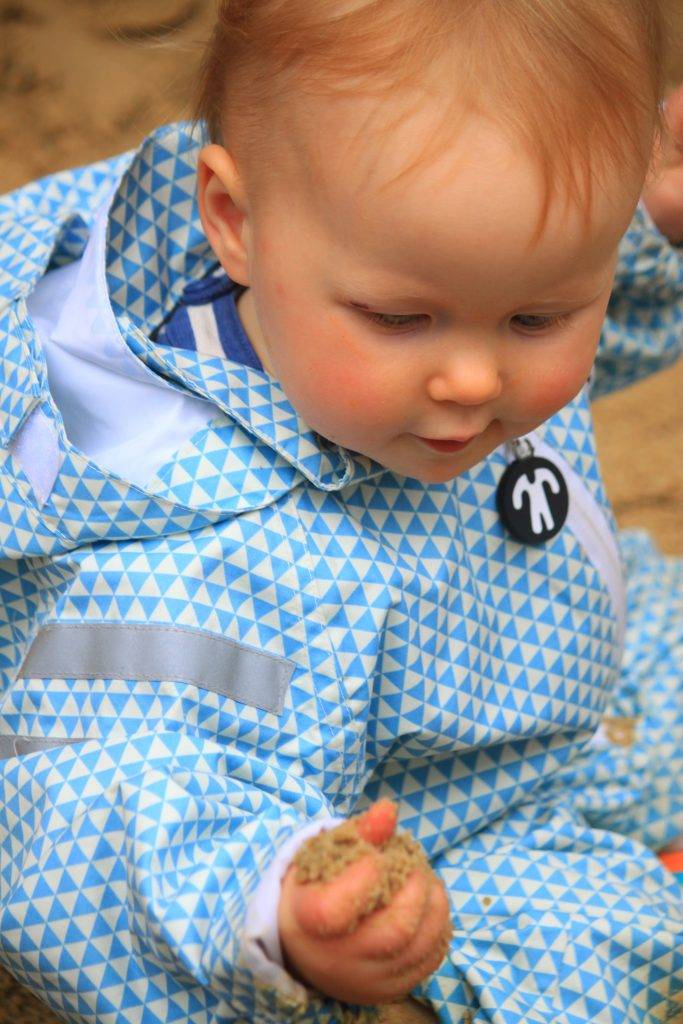 release info on classic style various design Ducksday Original rain suit ACE in blue pattern