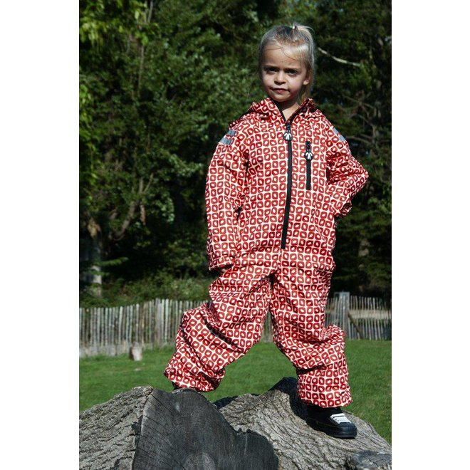 Durable rain suit Funky Red| 74-116