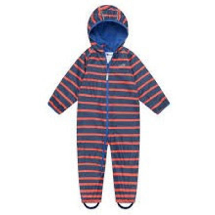 Lined, durable rain suit ECOSPLASH, in red with blue stripes-3