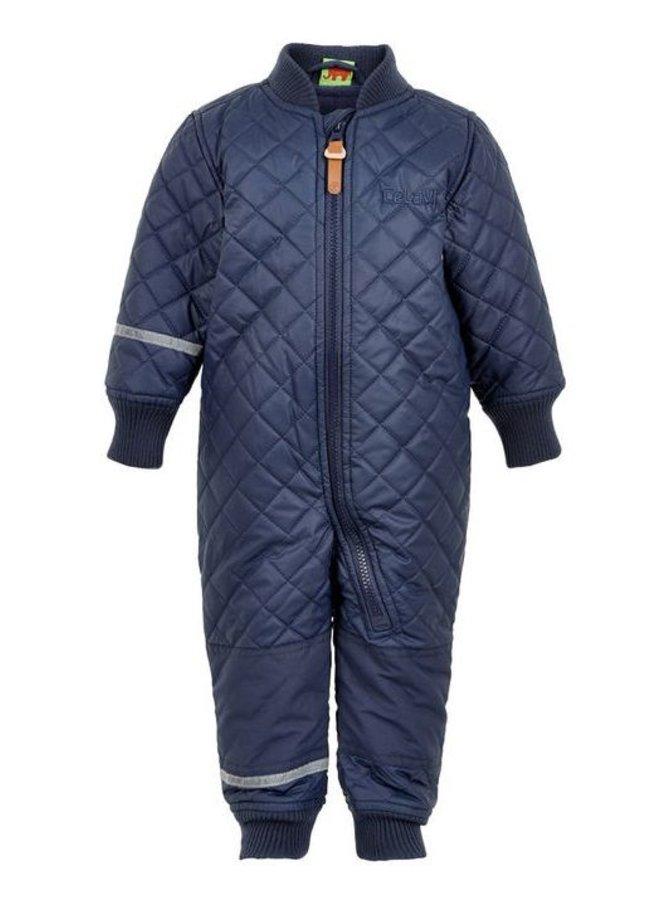 Water-repellent thermal overalls in dark blue