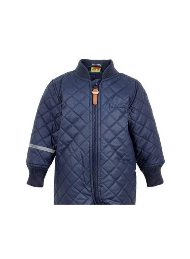Water-repellent children's thermal coverall dark blue