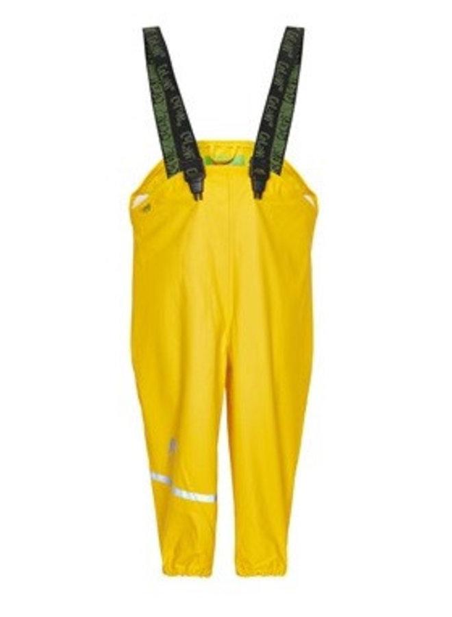 Gele kinderregenbroek met bretels | 70-100