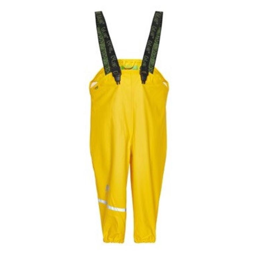 Gele kinderregenbroek met bretels   70-100-1