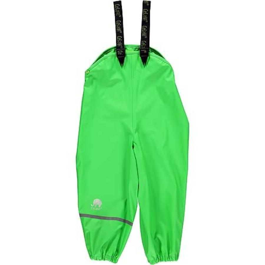 Lime green children's rain pants with suspenders size 70-100-1