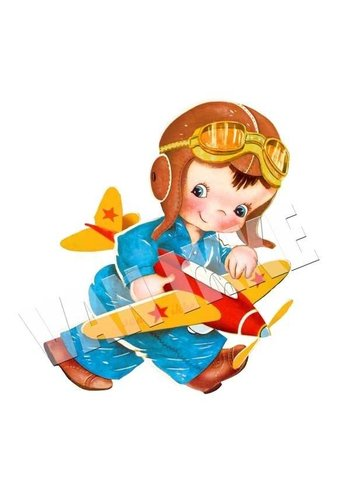 Strijkapplicatie jongen met vliegtuig