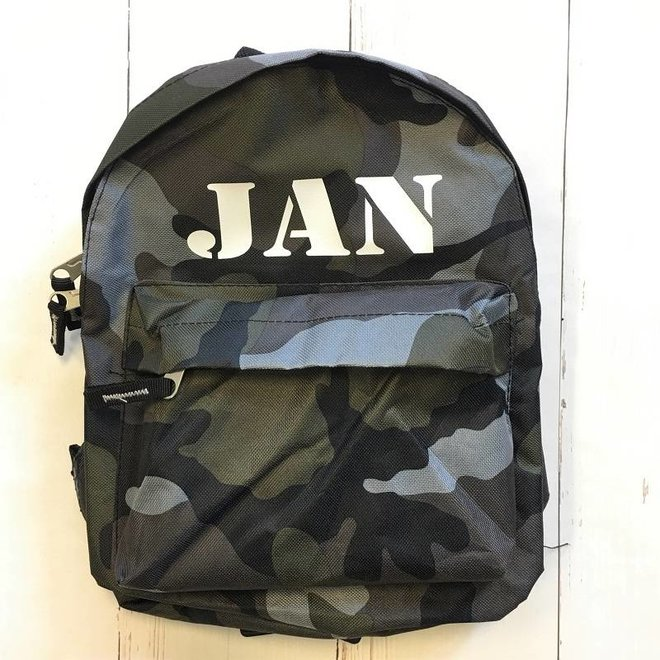 Camouflage backpack with name printing