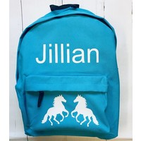 thumb-Junior backpack with name printing and horses-1