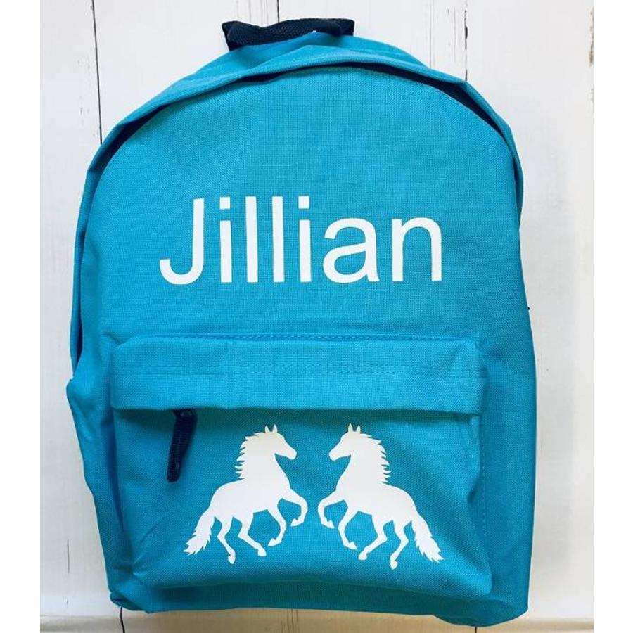 Junior backpack with name printing and horses-1
