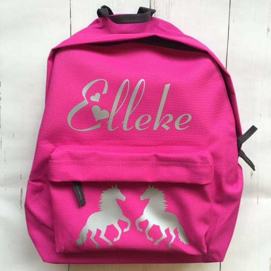 Junior backpack with name printing and horses-7