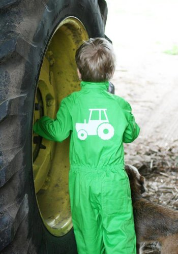 Printed overalls with tractor