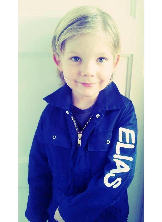 Bedrukte kinderoverall | korenblauw