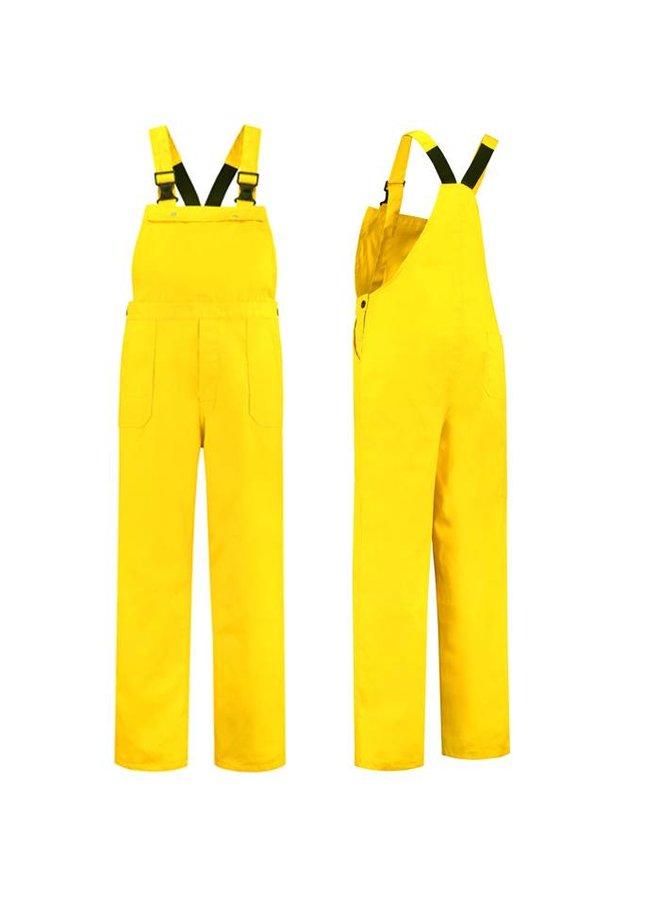 Yellow dungarees   unisex model   ladies and gentlemen