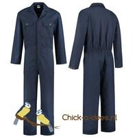 Donkerblauwe, navy overall voor dames en heren -