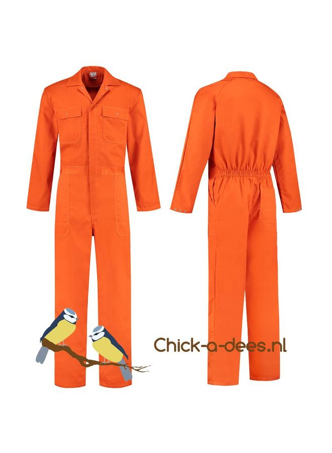 Oranje overall met naam of tekst bedrukking