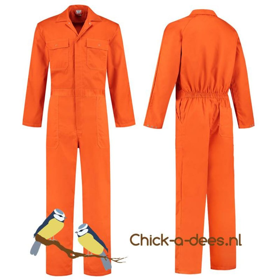 Oranje overall met naam of tekst bedrukking-3
