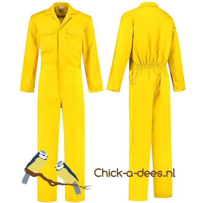 Gele overall met naam of tekst bedrukking