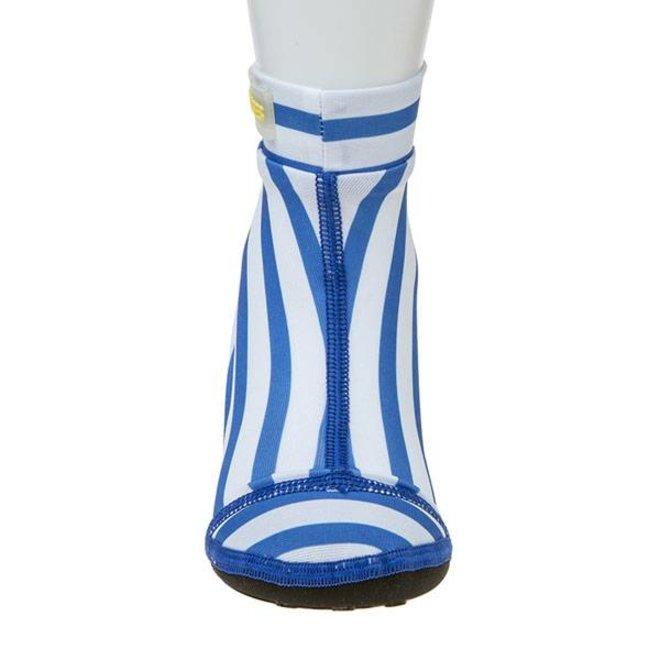 Beachsocks, zwemsokken blauw wit met strepen