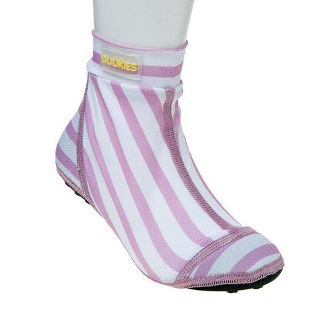 Beachsock-Stripe Pink White zwemsokken