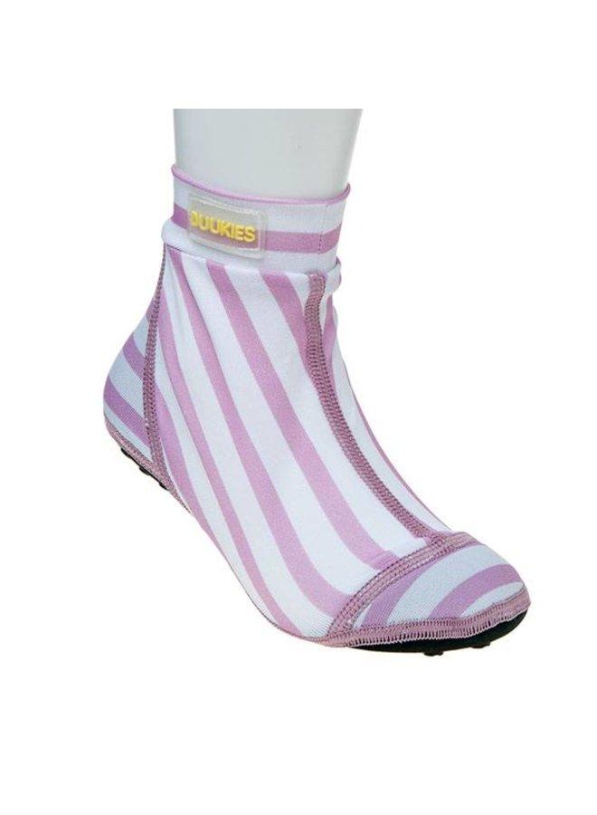Beachsocks met strepen Stripe Pink White