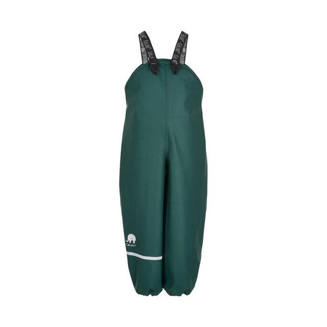 Dark green children's rain pants with suspenders | 70-100