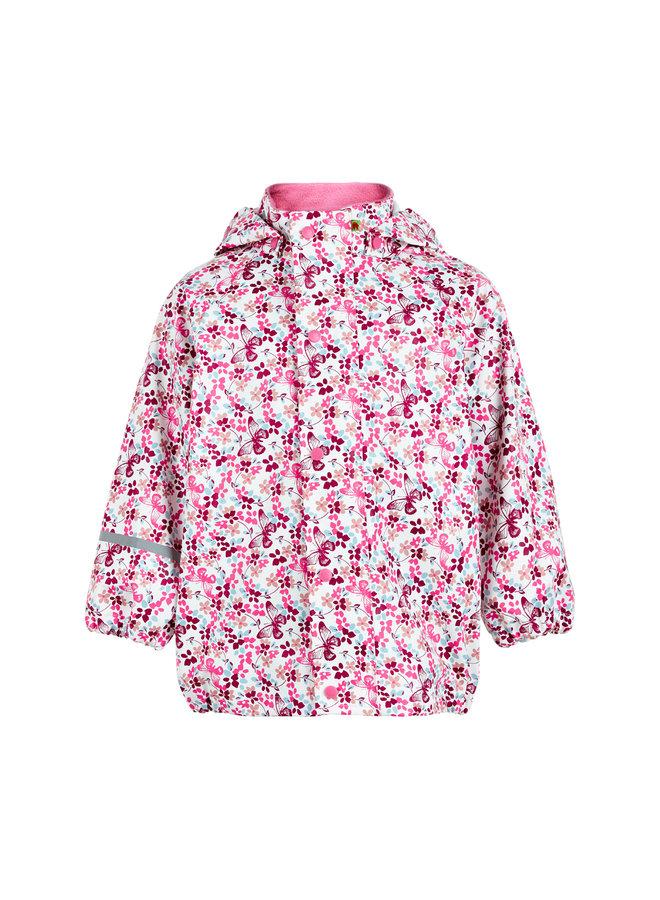 Kinderregenjas in roze met vlinders en bloemen | 70-140