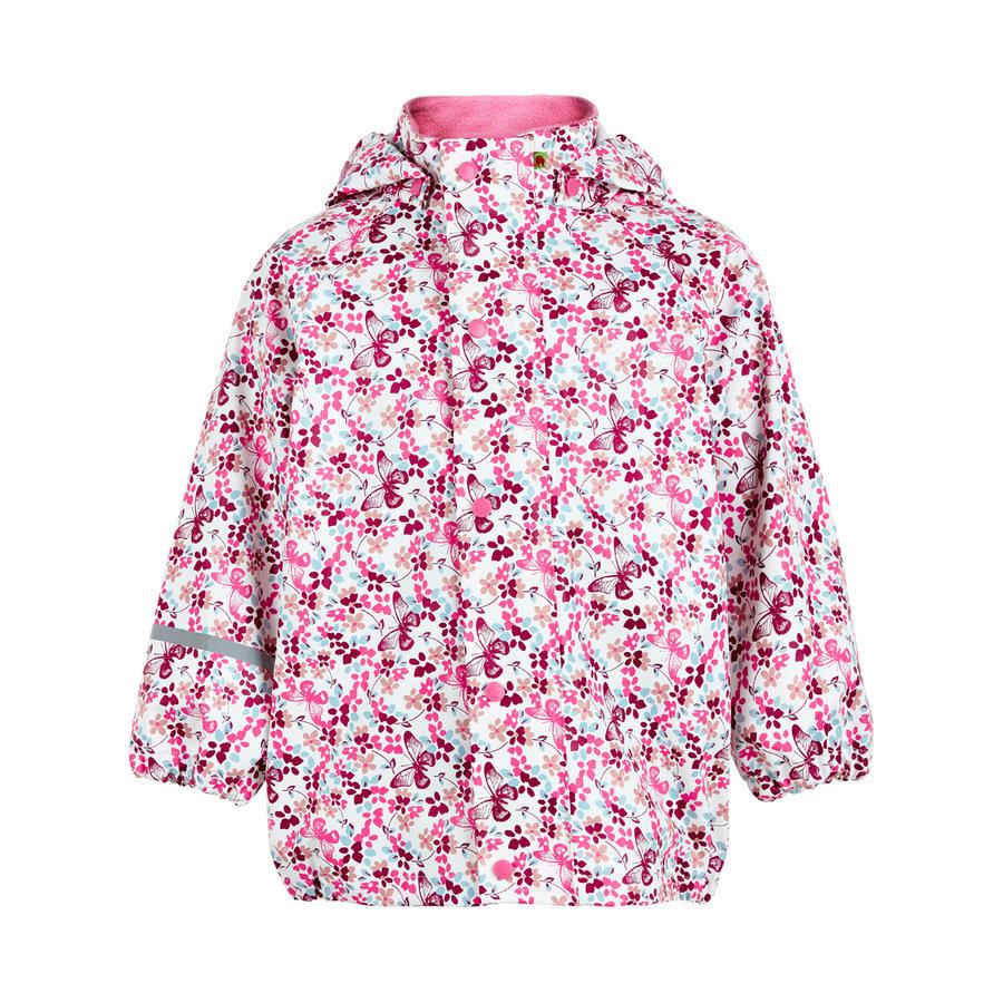 Kinderregenjas in roze met vlinders en bloemen | 70-140-1