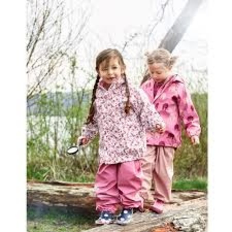 Children's raincoat in pink with butterflies and flowers 70-140-2