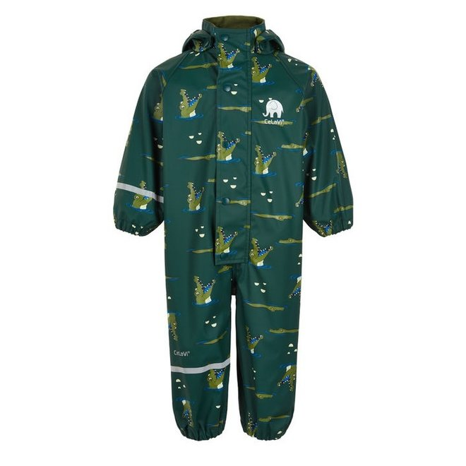 Children's rain suit dark green with crocodiles | 70-110