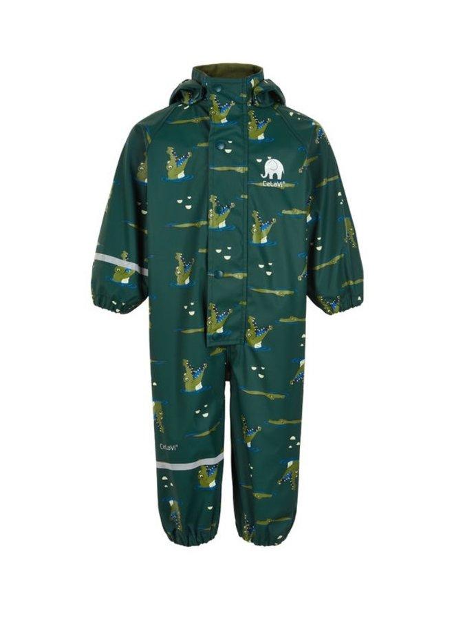 Kinderregenpak  donkergoen met krokodillen|  70-110