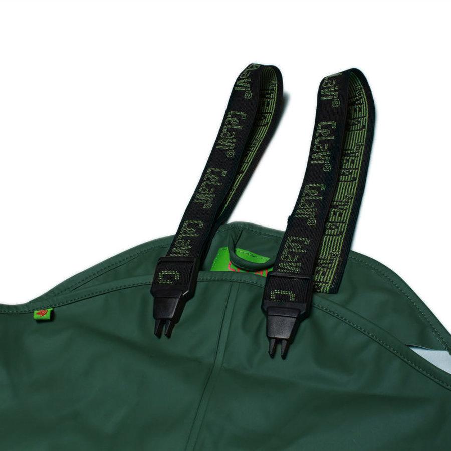 Donkergroene kinderregenbroek met bretels   70-100 - Copy-2