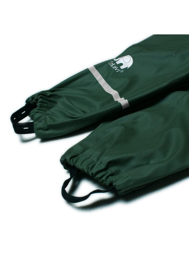 Dark green children's rain pants with suspenders 70-100