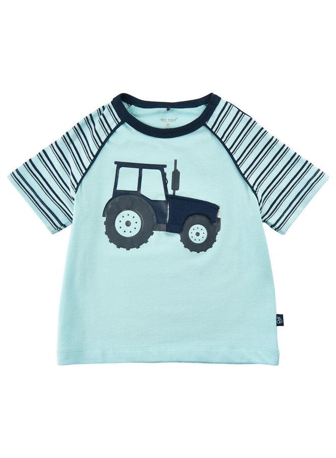 T-shirt met tractor print en luikje naar motor