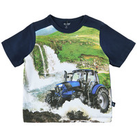 T-shirt with tractor print and waterfalls