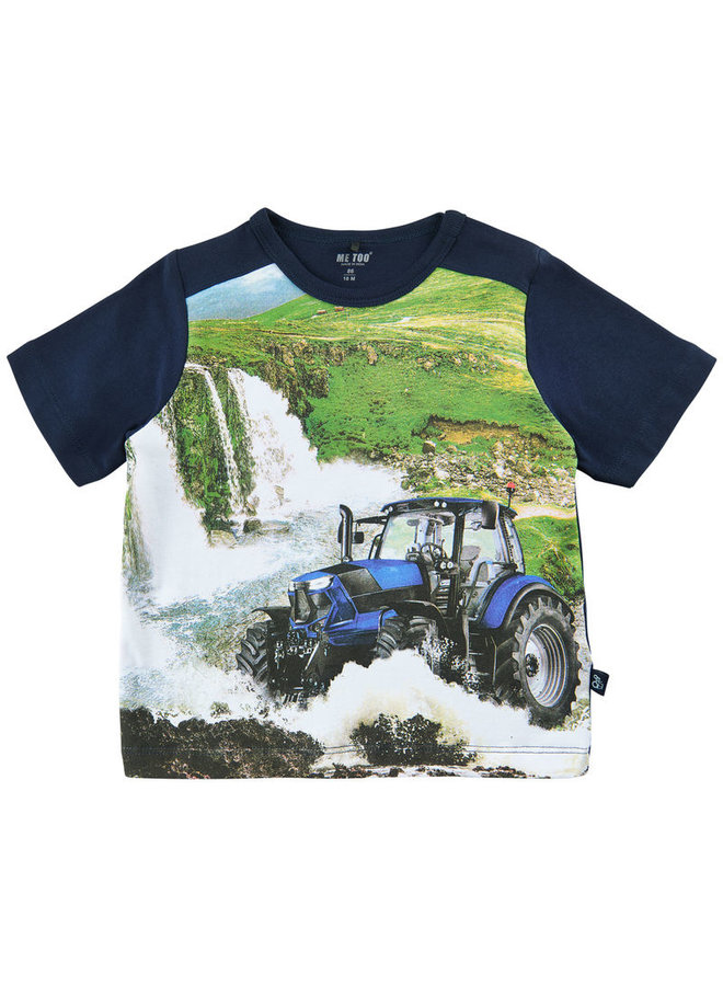 T-shirt with print tractor and waterfalls size 80-116