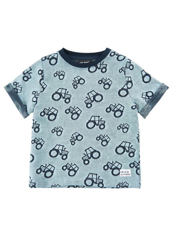 Kinder T-shirt met 'all- over' tractoren print