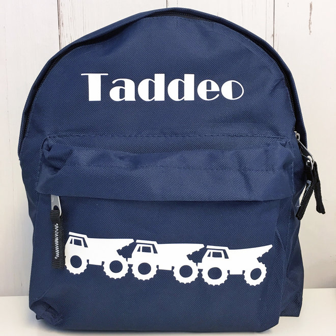 Personalized toddler backpack with dump trucks