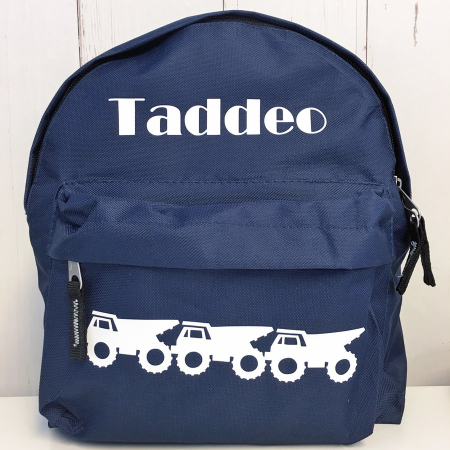 Personalized toddler backpack with dump trucks-1
