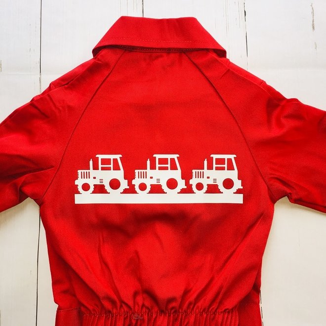 Children's overall printed with the edge of tractors