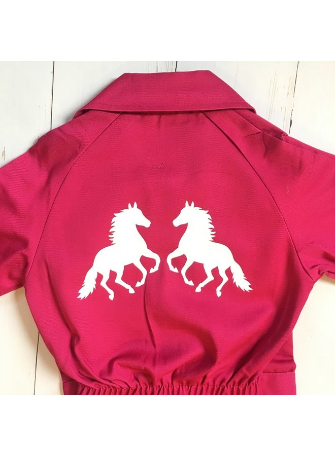 Kinderoverall bedrukt met paarden bedrukking