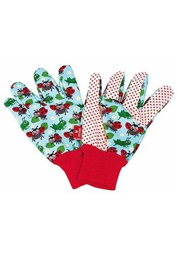 Kriebeldiertjes Children's garden gloves light blue design