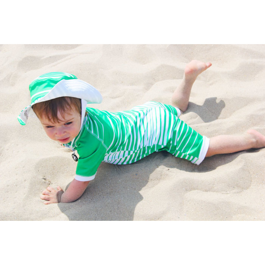 UV baby sun hat in green / white | Aruba-3