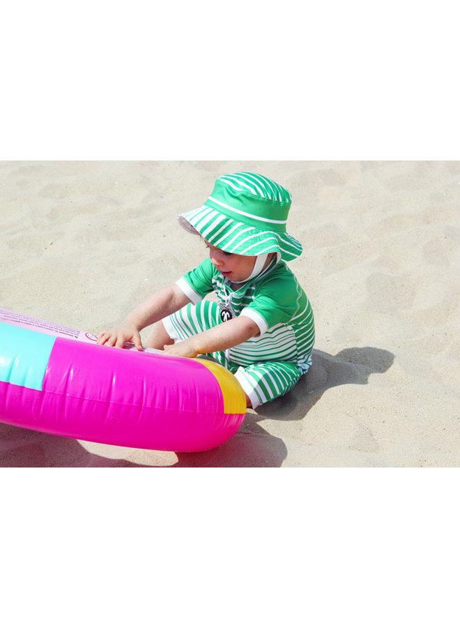UV baby sun hat in green / white   Aruba