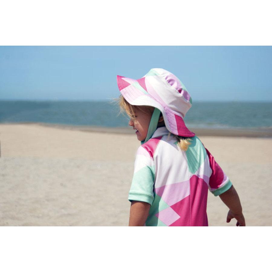 UV baby sun hat in green / white | Renee-2
