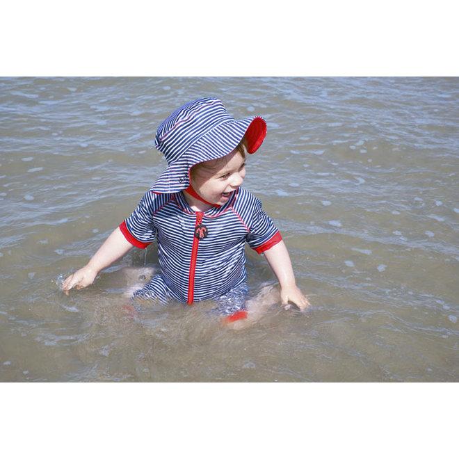 UV baby sun hat in blue / white | FlicFlac