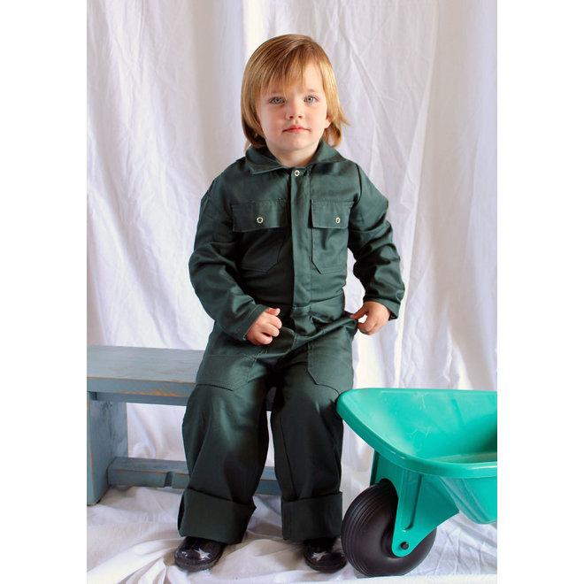 Children's overalls in dark green