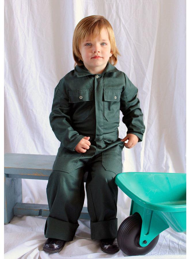 Dark green children's overall
